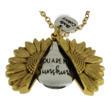 You are my sunshine Open Locket Sunflower Pendant Necklace Watch over me Faith Truth (Goldtone sunflower) Faith Pendant Necklace