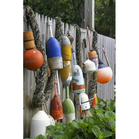 Buoys outside Lucy J's Jewelry and Glass Studio, Eastham, Cape Cod, Massachusetts, USA Print Wall Art By Susan Pease (Avon Cape Cod Ruby Glass)