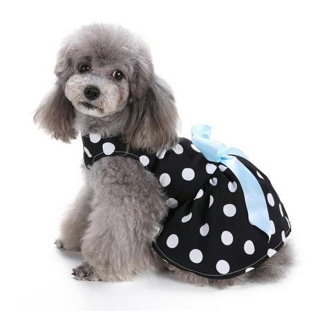 Cute Polka Dot Ribbon Dog Dress Dog Clothes Cozy Dog Shirt Pet - Polka Dot Dog Dress