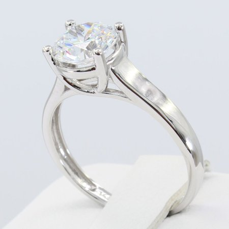 1.50 Ct 14K Real White Gold Round Cut 4 Prong Trellis Set Classic Solitaire Engagement Wedding Bridal Propose Promise Ring