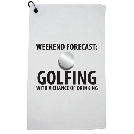 - Golfing With a Chance of Drinking Funny Golfer Golf Towel with Carabiner Clip