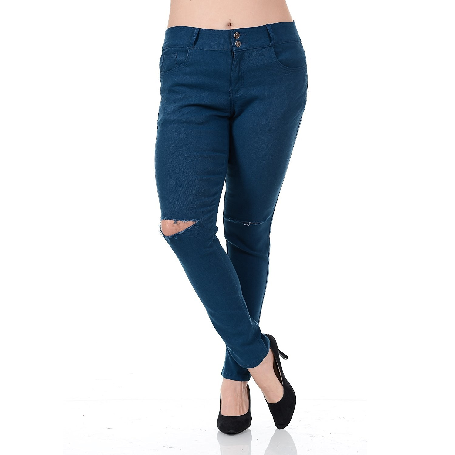 WX Womens Plus Size Distressed Knee Hole Ripped Stretch Jeans Skinny Twill Pants