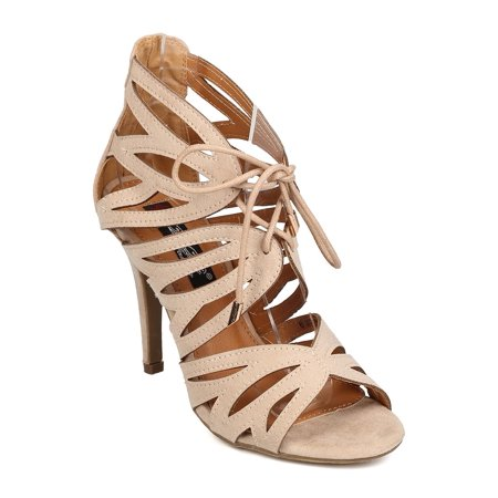New Women DbDk Nery-2 Faux Suede Peep Toe Caged Stiletto Lace Up Sandal