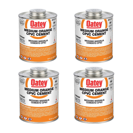 Oatey 32 Oz. CPVC Pipe Hot and Cold Systems Solvent Cement Glue, Orange (4 Pack) ()