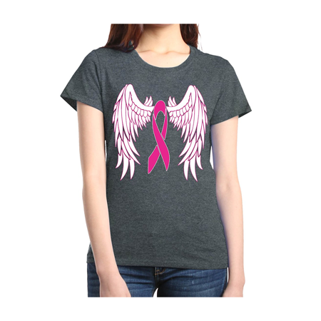 Pink Ribbon with Wings Women's T-Shirt Breast Cancer Awareness Shirts (Purple Cancer)