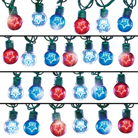 Set of 25 Red White and Blue Star Globe String Lights, 4th of July Outdoor Decoration Dragonfly Light Set