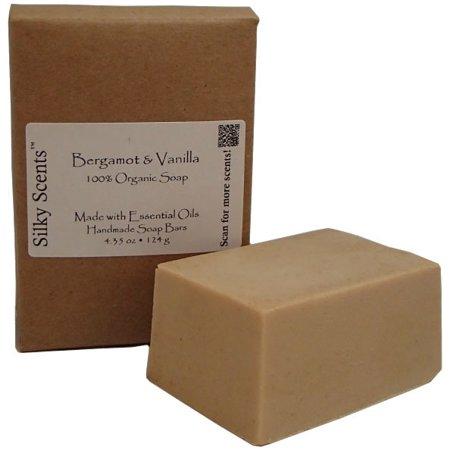 Silky Scents Bergamot & Vanilla Organic Soap Bar - Handmade with Essential Oils, 4.3 oz