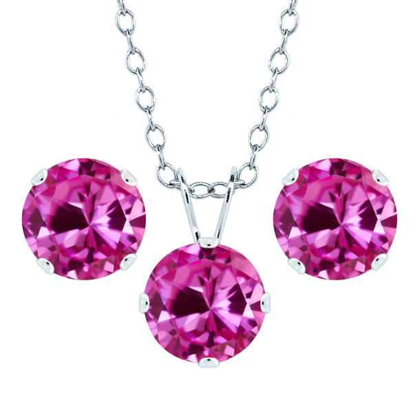 4.98 Ct 7mm Pink Created Sapphire 925 Sterling Silver Stud Pendant Earrings Set