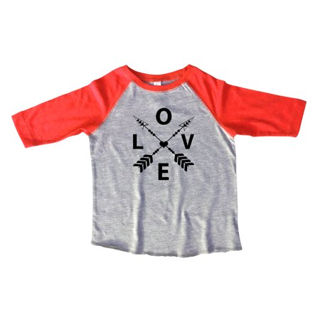 "Girls Love Raglan 3/4 Sleeves "" Love "" Love Arrows Toddler & Youth Baseball Tee Gift Medium, Red"