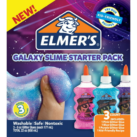 Elmer's Galaxy Slime Starter Kit with Purple, Pink & Blue Glitter Glue, 6 Ounces Each, 3 Count (Slide Maker)
