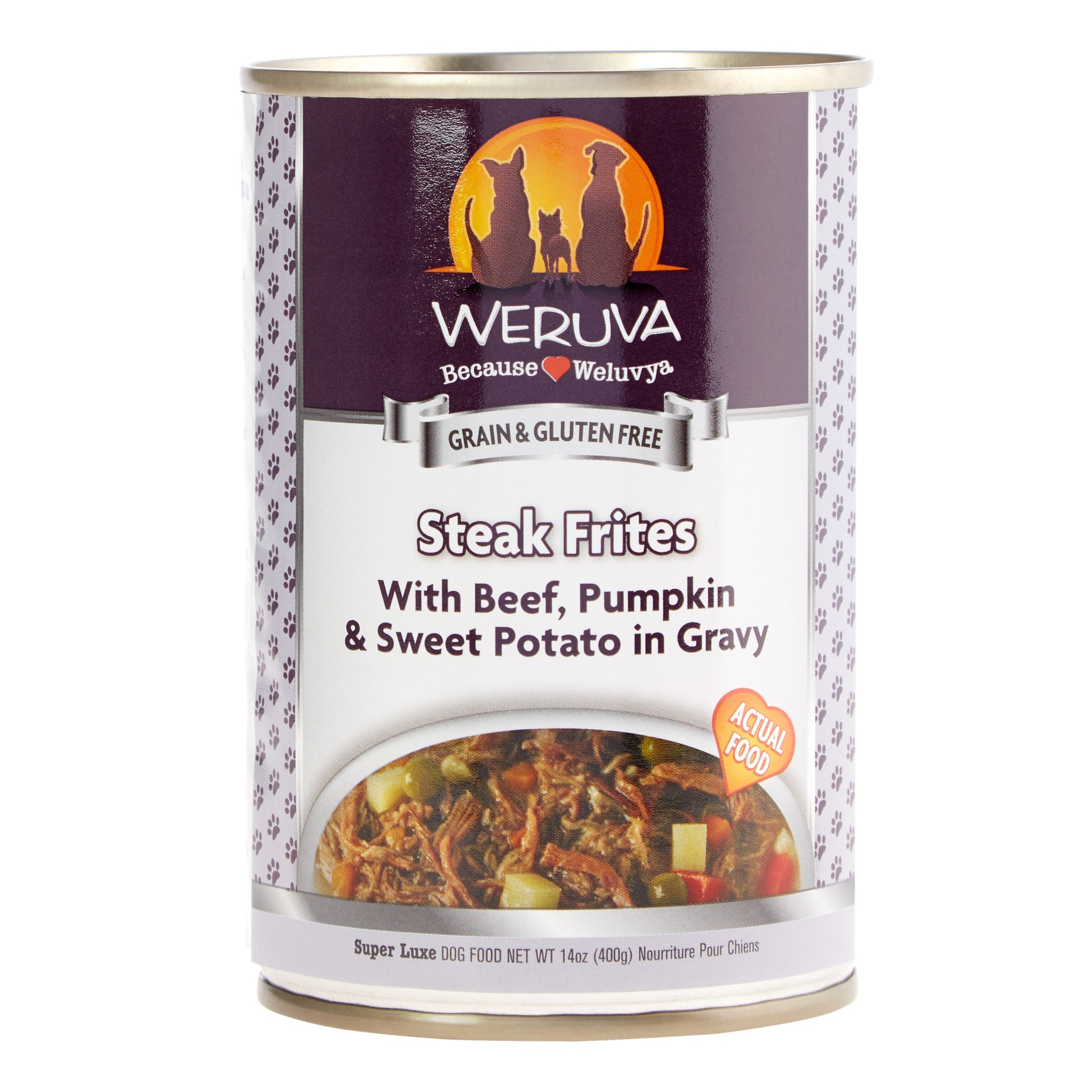 Weruva Human Style Grain-Free Steak Frites with Beef, Pumpkin, & Sweet Potato Wet Dog Food, 14 Oz, Case of 12