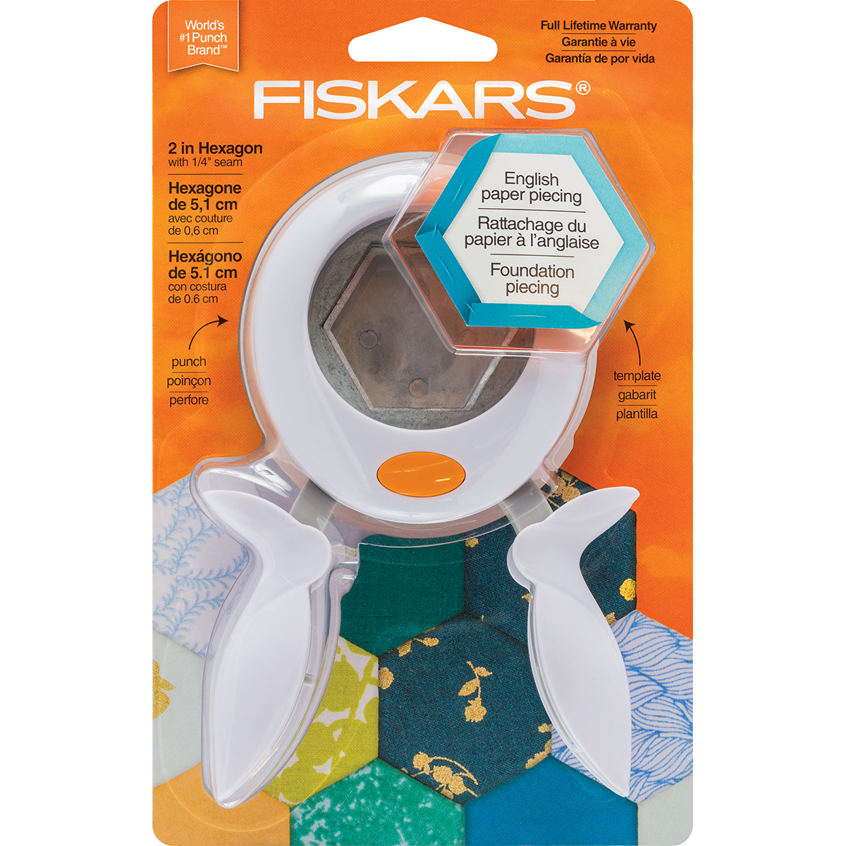 """Fiskars Squeeze Punch And Acrylic Template-2"""" Hexagon"""