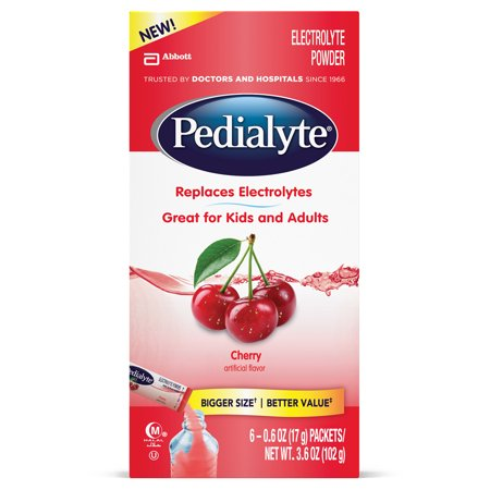 Pedialyte Electrolyte Drink Powder  Cherry  Powder Sticks  0 6 Oz  6 6 Packs