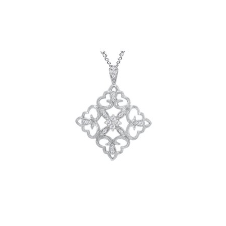 1/4 Carat T.W Natural Diamond Scallop Square Pendant in 10K Solid White Gold (Yellow Gold Diamond Square Pendant)