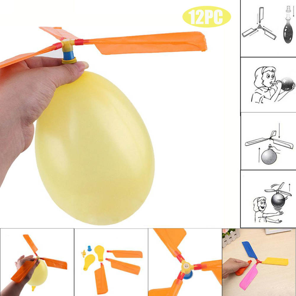 Mosunx 12PC Balloon Helicopter Flying Toy Child Birthday Xmas Party Bag Stocking Filler