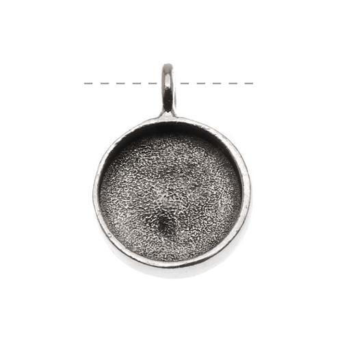 Nunn Design Antiqued Silver Plated Large Bezel Circle Pendant 19mm
