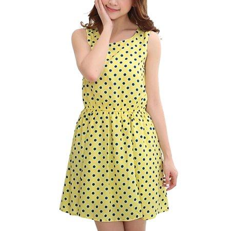 Unique Bargains Women Slipover Sleeveless Dots Pattern A-line Dress