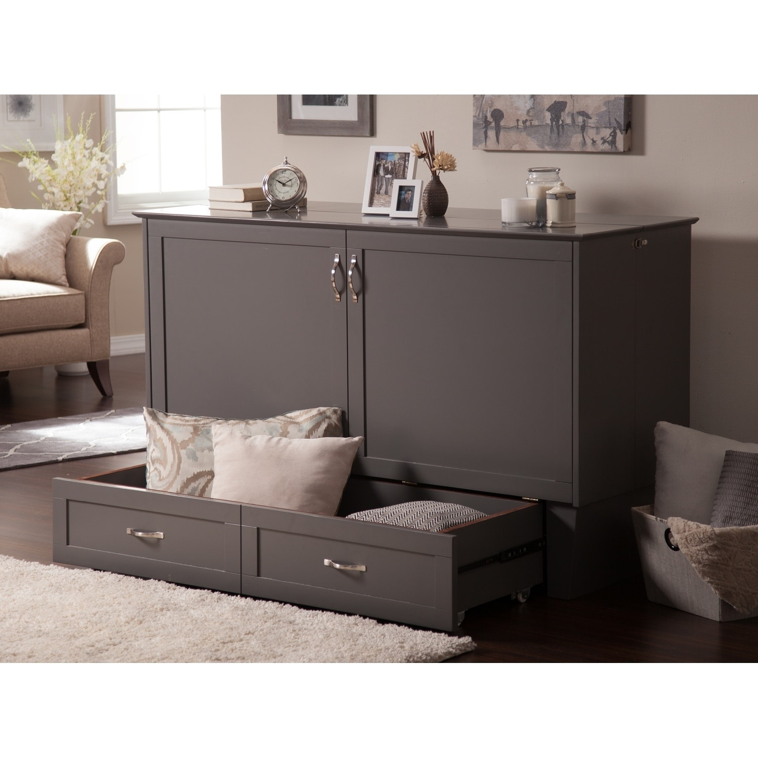Atlantic Furniture Madison Murphy Queen Size Bed Chest In Atlantic Grey  Finish With USB Charging