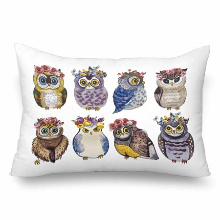 GCKG Watercolor Cute Owls Flowers White Pillow Cases Pillowcase 20x30 inches - image 1 of 4
