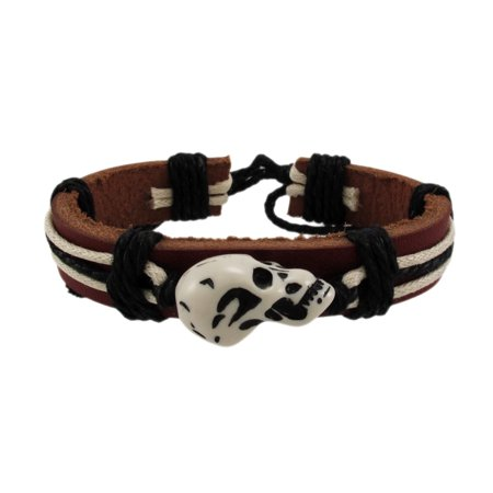 Brown Leather Cord Bracelet - Brown Leather Carved Skull Bead Cord Bracelet