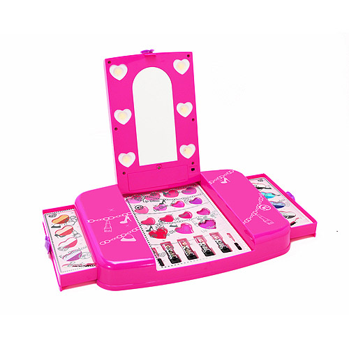 Barbie Lighted Cosmetic Vanity, Pink, 31 pc