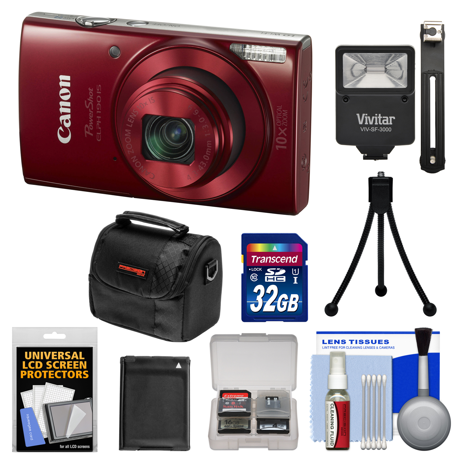 Canon PowerShot Elph 190 IS Wi-Fi Digital Camera (Red) with 32GB Card + Battery + Case + Flash + Tripod + Kit
