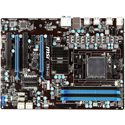 MSI 970A-G43 Desktop Motherboard - AMD 970 Chipset - Socket AM3+ - ATX - 1 x Processor Support - 32 GB DDR3 SDRAM Maximum RAM - 1.87 GHz (O.C.) Memory Speed Supported - 4 x Memory Slots -