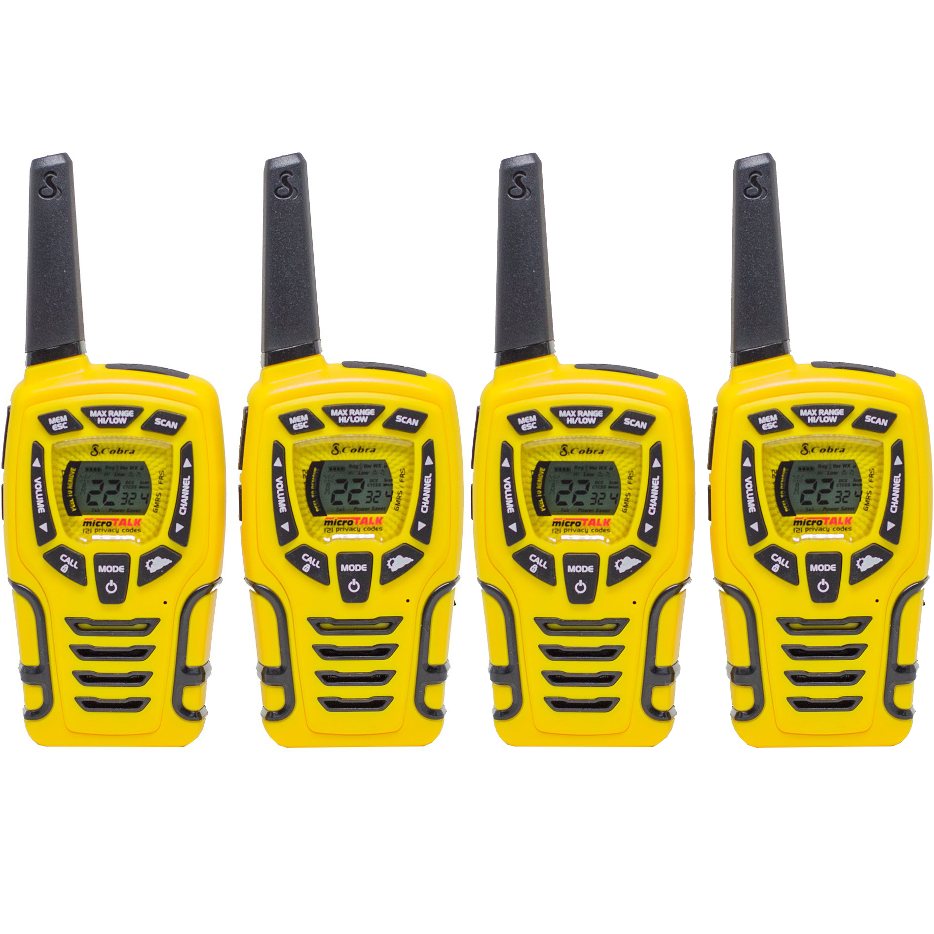 Cobra 28 Mile 22 Channel Walkie Talkie VOX NOAA Receiver Radios CX445 (2 Pairs)