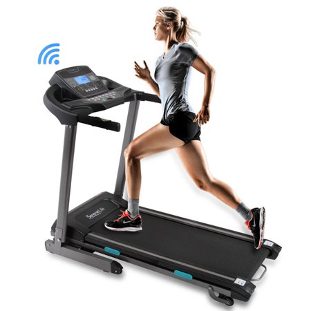 SereneLife SLFTRD35 - Smart Incline Treadmill with Downloadable App, Built-in MP3 Player & Stereo Speakers