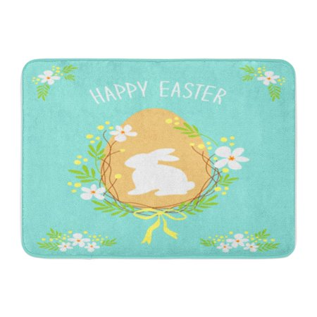 KDAGR Cute Rustic Easter Wreath of Spring Flowers Egg Bunny and Text Happy for Your Doormat Floor Rug Bath Mat 30x18 inch ()