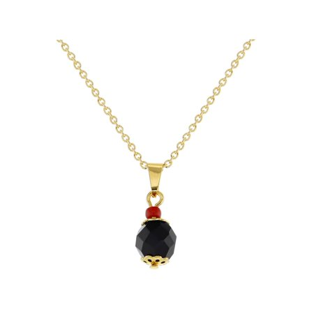 18k Gold Plated Protection Black Simulated Azabache Pendant Necklace 19
