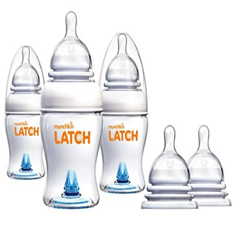 Taggies Munchkin Latch Anti-Colic 4 Ounce Bottles with St...