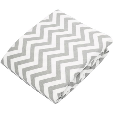 Kushies Bassinet Fitted Flannel Sheet, Chevron Grey