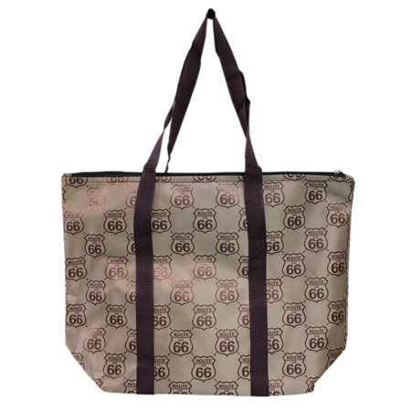 Gold and Brown Route 66 Logo Pattern Canvas Material Tote Bag ()