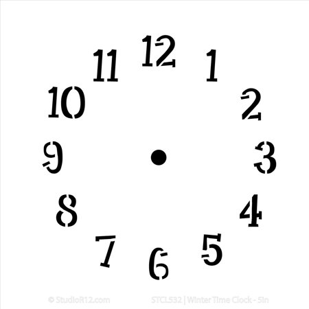 Winter Time Clock Stencil by StudioR12 | Simple Clock Face Art - Small 6 x 6-inch Reusable Mylar Template | Painting, Chalk, Mixed Media | Use for Journaling, DIY Home Decor - STCL532](Simple Face Painting)