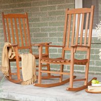 Coral Coast Indoor/Outdoor Mission Slat Rocking Chairs - Natural - Set of 2