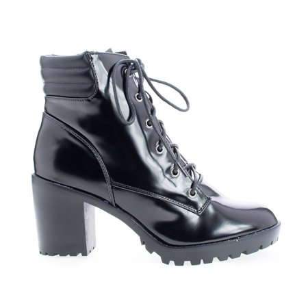 Ranger22 by Breckelle's, Lace Up Padded Collar Lug Sole Heel Combat Ankle Boots ()