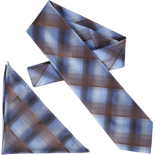 Daxx Men's Plaid Microfiber Tie and Hanky Set