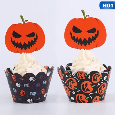 Halloween Party Mix Food (Michellem 24 Pieces Halloween Cupcake Toppers Spider Pumpkin Ghost Food Picks Halloween Cupcake Picks for Halloween Party Favors Baby Shower Birthday)
