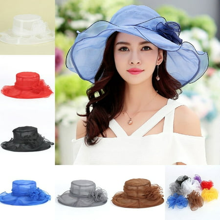 Women Church Derby Hat Wide Brim Cap Wedding Dress Party Floral Bridal Foldable