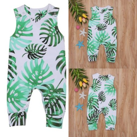 Newborn Baby Girl Boy Sleeveless Banana Leaves Romper Jumpsuit Outfits Summer - Banana Outfits