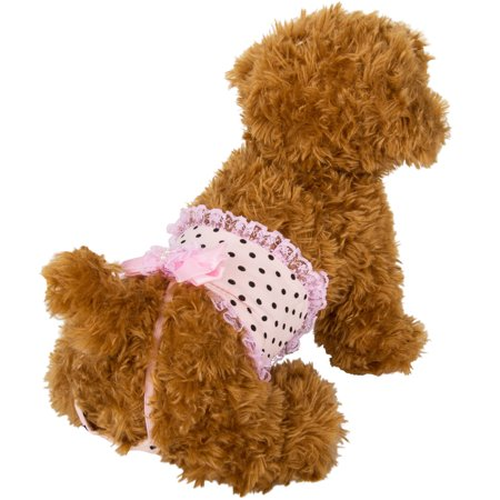 CUECUEPET Reusable and Comfortable Physiological Sanitary Fashion Panty Wear for Female/Girl Dogs or Puppies, Pink/Black Polka Dots