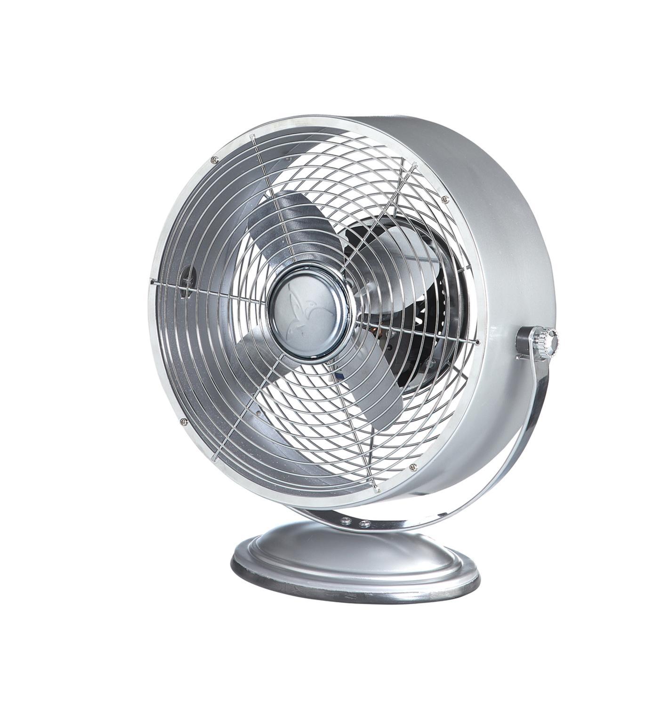 "13"" Silver Metallic Retro Adjustable Tilt Head Round Table Top Fan"