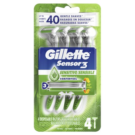 Gillette Sensor3 Sensitive Men's Disposable Razor, 4 Razors ()