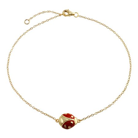 Red Ladybug Garden Charm Anklet Link Ankle Bracelet For Women 14K Gold Plated 925 Sterling Silver 9 To 10 Inch Extender ()