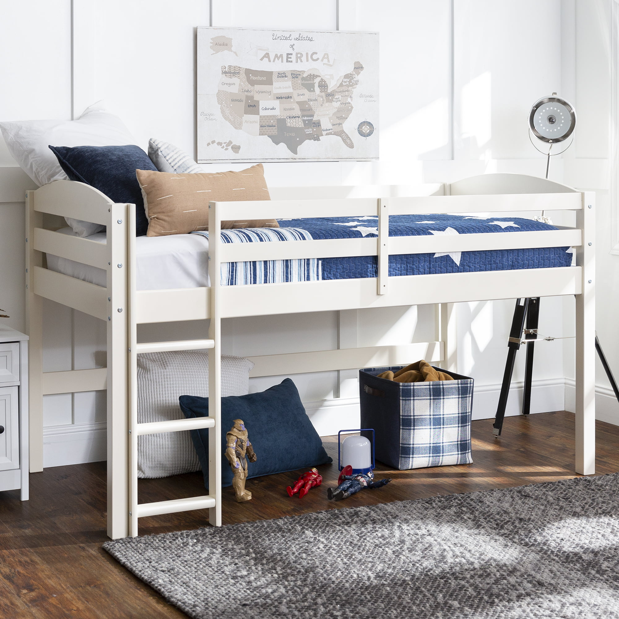 Picture of: Manor Park Solid Wood Junior Twin Low Loft Bed White Walmart Com Walmart Com