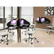 Manhattan Comfort Bradley Floating 2-Piece Cubicle Section Desk with Keyboard Shelf in Black
