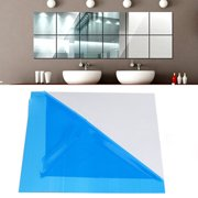 16X Mirror Tile Wall Sticker Square Self Adhesive Room Decor Stick On Modern Art