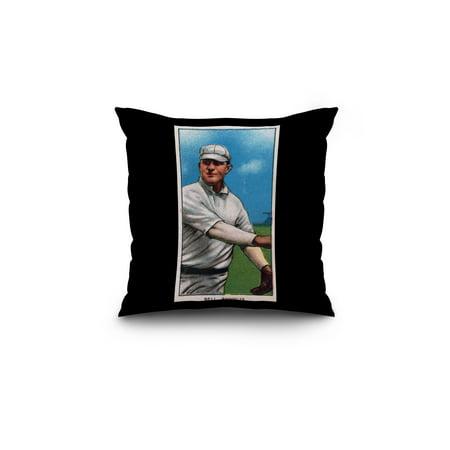 Brooklyn Superbas George Bell Baseball Card 18x18 Spun Polyester Pillow Black Border