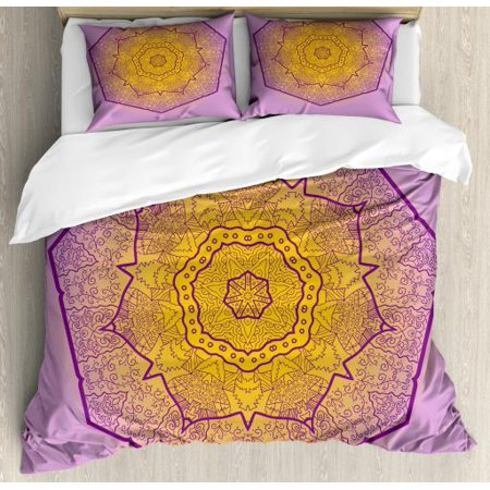 Mandala King Size Duvet Cover Set, Oriental Heptagon with Floral Elements and Curlicues Ombre Effect, Decorative 3 Piece Bedding Set with 2 Pillow Shams, Earth Yellow and Lavender, by (Pardon Me Thou Bleeding Piece Of Earth)